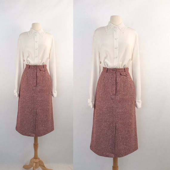 vintage pink tweed skirt | 70s vintage