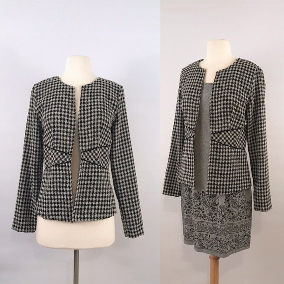 90s vintage Chanel inspired houndstooth jacket