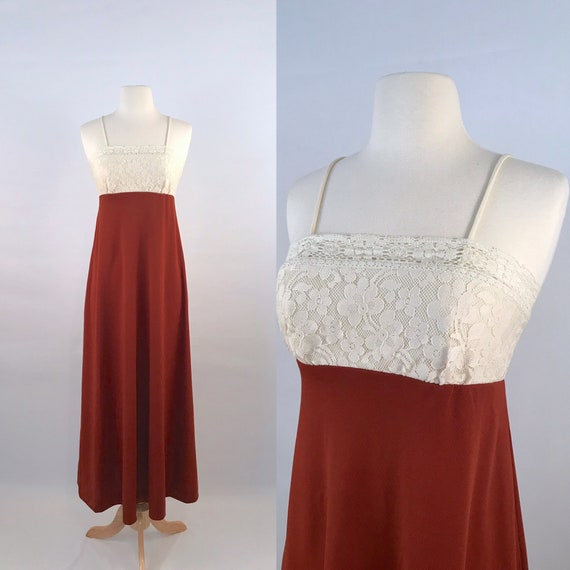terracotta maxi sun dress | 70s vintage