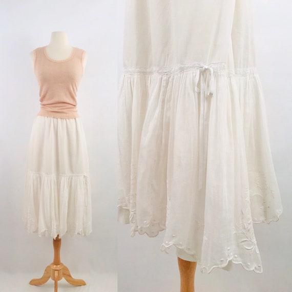 1910s antique Edwardian Victorian petticoat | whit