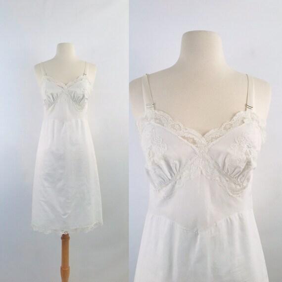 vintage white cotton slip dress   50s vintage nigh
