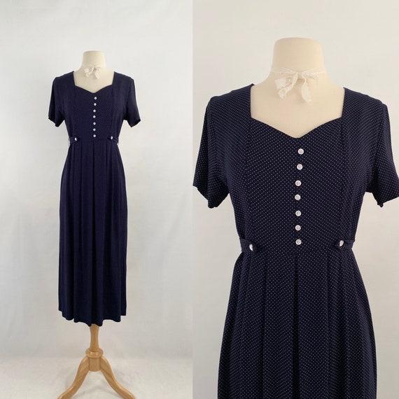 tiny polka dots midi dress   90s vintage