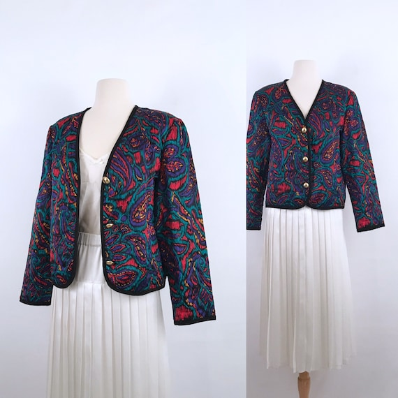 80s vintage quilted cropped silky jacket