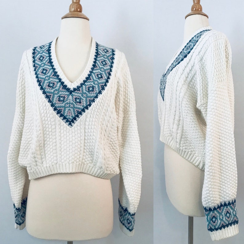 90s White Preppy Sweater  Vintage Loose Fit Sweater