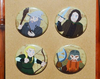Lord of the Rings Pins/Button Set - Gandalf, Aragorn, Legolas, Gimli