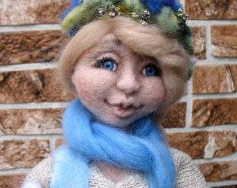 Needle Felted Doll , Princess Fiona Doll, Doll in a Long Dress, Decoration Doll, Art Doll , Eco-friendly, Handmade Doll.