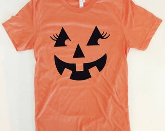 986987f4 Womens Pumpkin Tee- Halloween T-shirt- Pumpkin Shirt- Halloween womens shirt