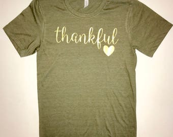 Thanksgiving Tee- Womens Thankful T-shirt- Ladies Thanksgiving Shirt- Thanksgiving Thankful T-shirt