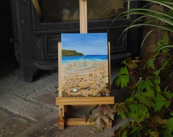 Mawgan Porth - Seascape with shells, seaweed, sea glass and sand on canvas board
