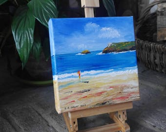 Polzeath Cornwall - Acrylic Painting on a Deep Canvas