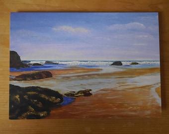 Card: blank card featuring the beach at Mawgan Porth, Cornwall, printed from original artwork.