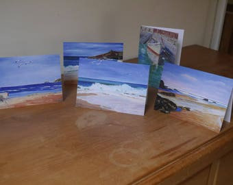 Cards: set of five blank cards featuring Cornish seascapes printed from original artwork