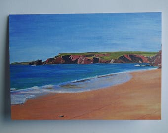 Card: Blank card featuring Porthcothan Bay on the coast of north Cornwall