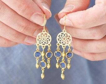 long dreamcatcher birthstone earrings, chandelier earrings, long drop earrings, charm earrings, swarovski birthstone earrings, gold earrings