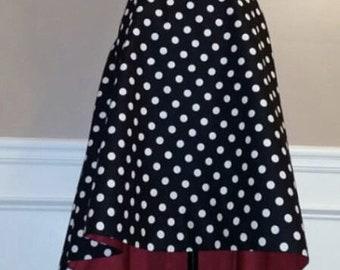 Crazy for dots hi low skirt - black white polka dots, red, dress