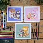 Shiba Inu Watercolour Art PRINT (3 Designs to choose from)
