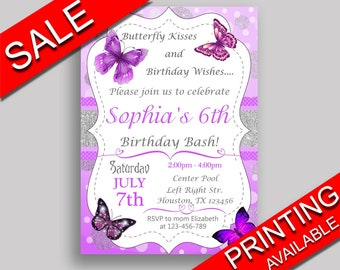Butterfly Birthday Invitation Digital Or Printed Party Purple White Girl OHI62