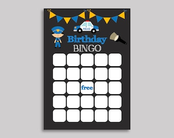 Police Bingo Gift Birthday Blank Cards Black Blue Activity Boy Officer Party 9R2G3