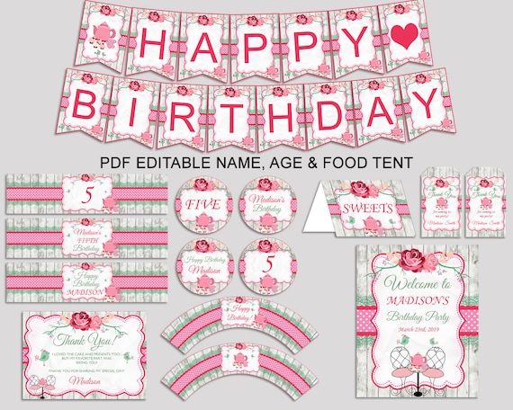 Tea Party Birthday Decor Editable Pack Pink Green