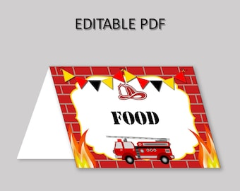 Firetruck Food Tent Red White Tent Cards Firetruck Food Table Labels Firetruck Foldable Food Tent Boy cute firetruck theme HV9E7