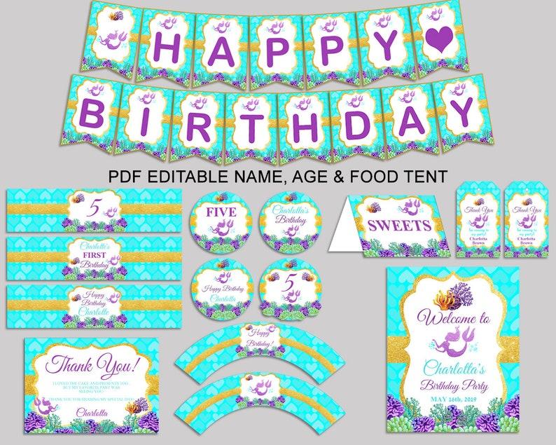 Mermaid Birthday Decor Editable Pack Blue Purple Party