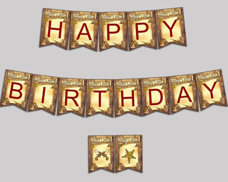 Cowboy Birthday Banner Cowboy Birthday Party Banner Brown Red Happy  Birthday Banner Boy country western diy cowboy birthday GU9YQ