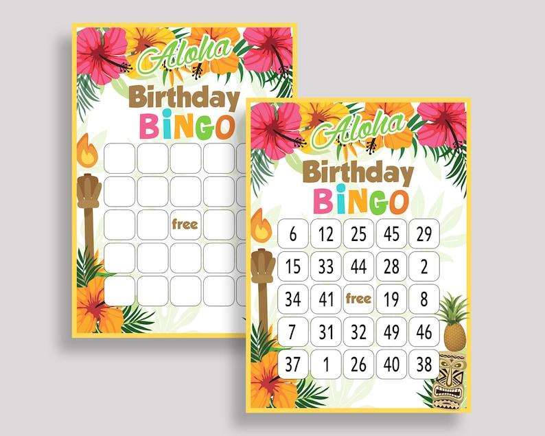 Hawaii Bingo Cards Luau Bingo Game Hawaii Birthday Bingo Cards Rainbow  Beige Bingo 60 Cards Boy Girl cute hawaiian luau 1ZO9J