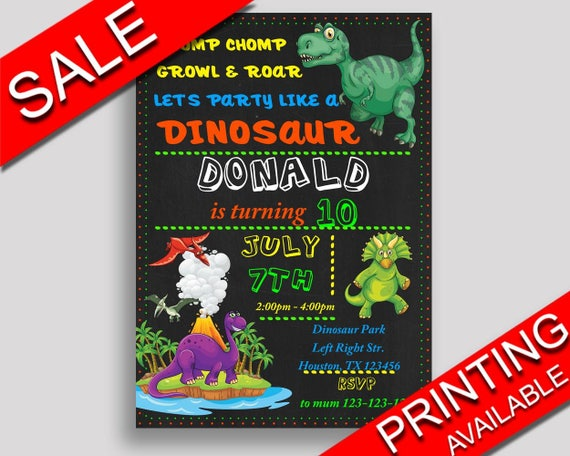 Dinosaur Birthday Invitation Party Boy Girl T Rex IIUCH