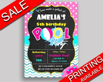 Pool Party Birthday Invitation Pool Party Birthday Party Invitation Pool Party Birthday Party Pool Party Invitation Girl birthday pool KDN9K