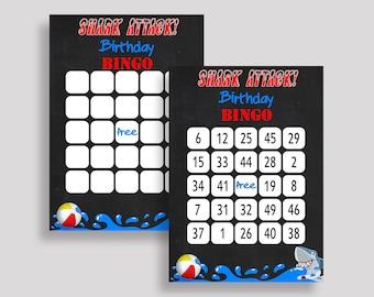 Shark Bingo Cards Shark Bingo Game Shark Birthday Bingo Cards Black Blue Bingo 60 Cards Boy shark birthday party shark birthday theme I9TVN