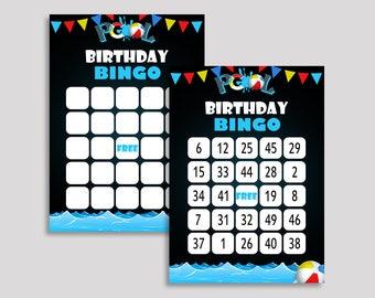 Pool Bingo Cards Pool Bingo Game Pool Birthday Bingo Cards Black Blue Bingo 60 Cards Boy Girl kids pool party pool party supplies Q10JO