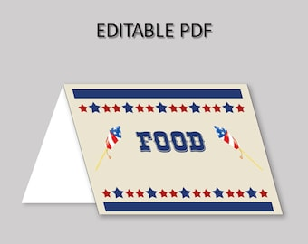 4th Of July Food Tent Blue Red Tent Cards 4th Of July Food Table Labels 4th Of July Foldable Food Tent Boy Girl independence day YB61M