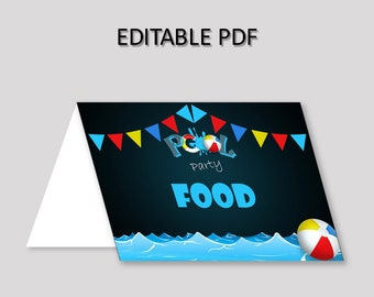 Pool Food Tent Black Blue Tent Cards Pool Food Table Labels Pool Foldable Food Tent Boy Girl pool party any age swimming pool party Q10JO
