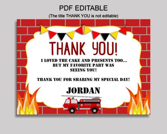 Firetruck Thank You Card Firetruck Birthday Thank You Red White Editable Firetruck Printable Thank You Boy fire alarm party HV9E7