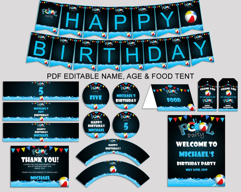 Pool Birthday Decor Editable Pack Black Blue Party