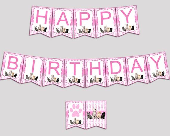 Cat Happy Birthday Banner Cat Birthday Party Banner Etsy