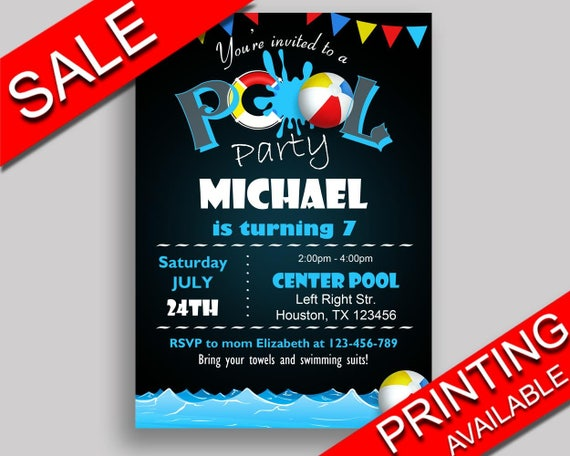 Pool Birthday Invitation Party