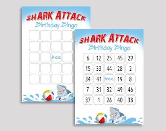 Shark Attack Bingo Cards Shark Attack Bingo Game Shark Attack Birthday Bingo Cards White Blue Bingo 60 Cards Boy shark printable EAG83