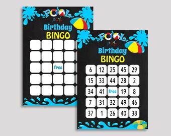Pool Bash Bingo Cards Pool Bash Bingo Game Pool Bash Birthday Bingo Cards Black Blue Bingo 60 Cards Boy Girl pool bash theme RHA49