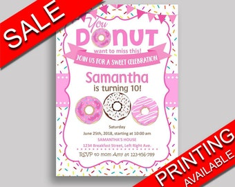 Doughnut Birthday Invitation Doughnut Birthday Party Invitation Doughnut Birthday Party Doughnut Invitation Girl sweet party theme 31C0W