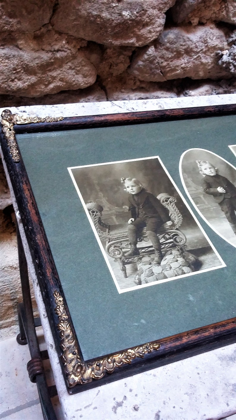 Stunning Large Boy Original Antique Sepia Photo with Frame and glass 1900/'s Three images composition!