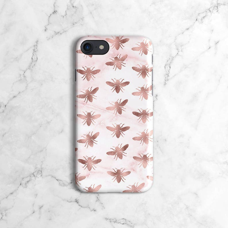 size 40 5dbf6 ae899 Rose Gold Marble Bees Pattern Phone Case for iPhone 7, iPhone 7 Plus,  iPhone X, iPhone XS Max, Samsung Galaxy S9, S9 Plus   DLC33