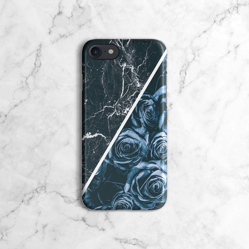 free shipping e1f89 cc1f7 Midnight Blue Roses & Marble Stone Block Phone Case foriPhone 7, iPhone 7  Plus, iPhone X, iPhone XS Max, Samsung Galaxy S9, S9 Plus | DLC209