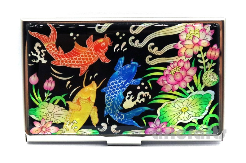39c1fea7c230 Mother of Pearl Business Card Holder Credit Card Case ID Name Card Holder  Metal Card Case Money Cash Case Wallet Lotus and Fish Design