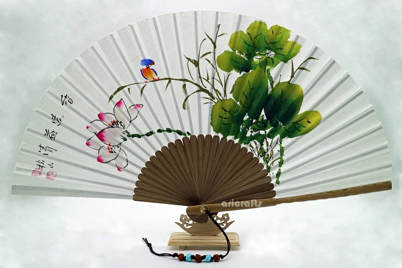 Hand Painted Folding Foldable Fan Red Lotus Flower Design Etsy