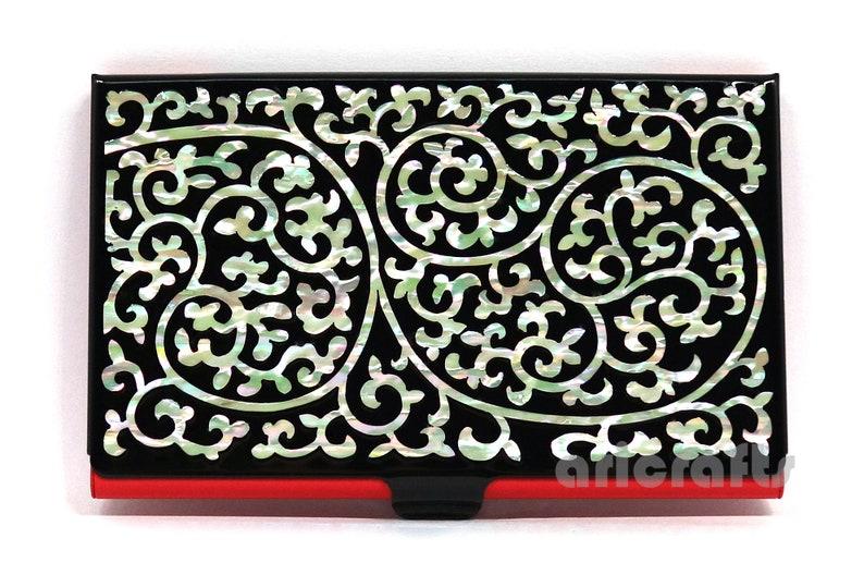 1f39427c53fc Mother of Pearl Business Card Holder Credit Card Case ID Name Card Holder  Metal Card Case Money Cash Case Wallet Cloud & Arabesque Design