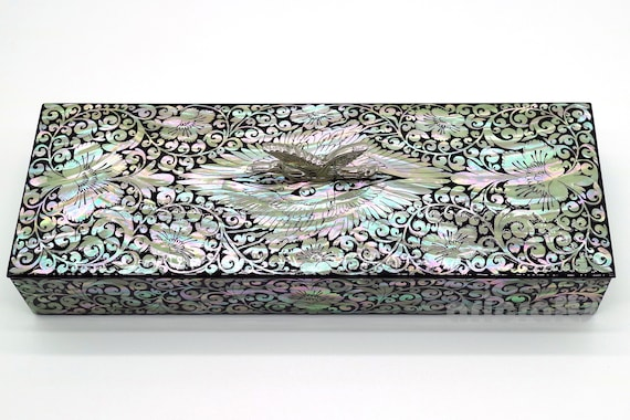 Mother of Pearl Inlay Wooden Case Desk Top Pen Pencil Brush Holder Case Box