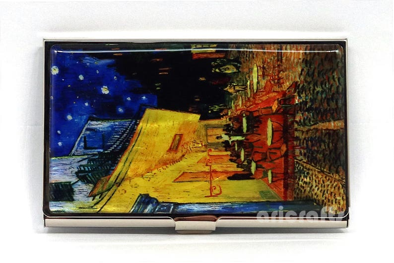 ef6a5a88a2a5 Cafe Terrace Design, Vincent Van Gogh, Business Credit Card Name ID Money  Cash Case Holder Wallet Purse Organizer Mother of Pearl