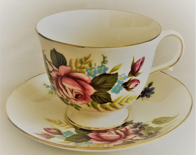 Gainsborough's cup and saucer pink rose Vintage Bone China
