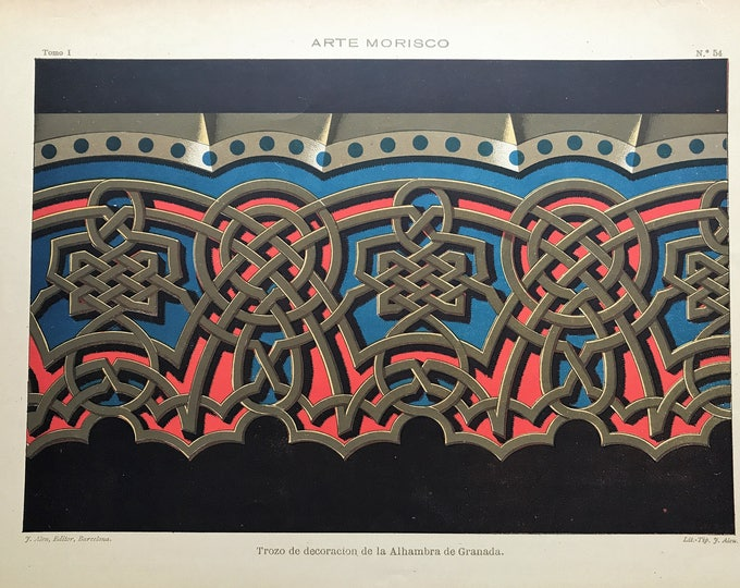 Lithograph of the decorative 19th century-details of the Alhambra in Granada
